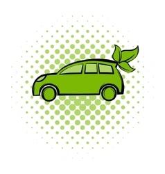 Eco car comics icon vector