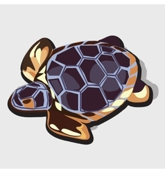Golden figurine of turtle with blue shell vector