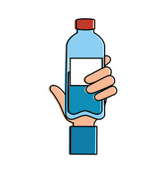 Hand with bottle water plastic vector