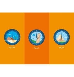 Icons city landmarks depicted in the watch dial vector