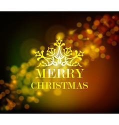 Merry christmas ornament golden vintage bokeh vector