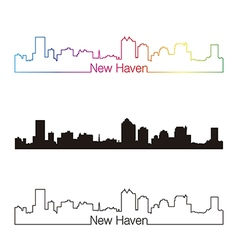 New haven skyline linear style with rainbow vector