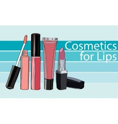Series cosmetics for lips vector