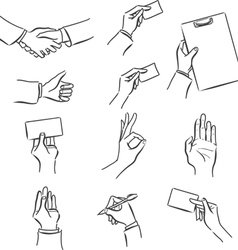Set of business symbol with hand vector image vector image