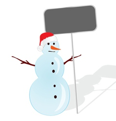 Snowman with table for message in hand vector