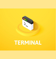 Terminal isometric icon isolated on color vector