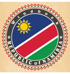 Vintage label cards of namibia flag vector
