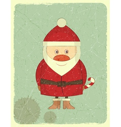 Merry christmas vintage card with santa claus vector
