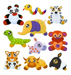 Asian toy animals vector