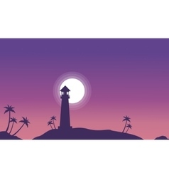 Lighthouse and moon scenery at night silhouettes vector image