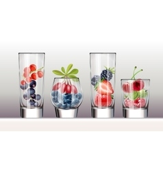 Set of icons glasses with a variety fresh berries vector