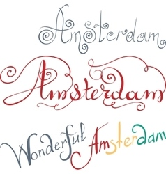 Amsterdam hand written inscription vector