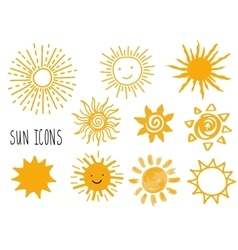 Hand drawn set of different suns icons vector image