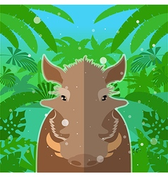 Wart-hog on the jungle background vector