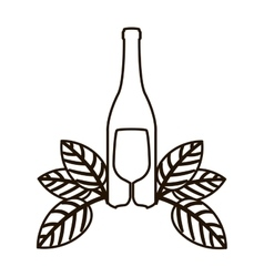 contour bottle wine and goblet with leaves vector image