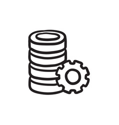 Server with gear sketch icon vector