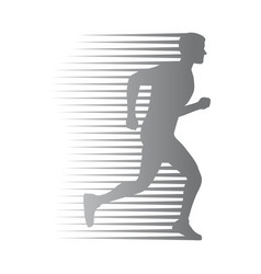 Silhouette of isolated man run with moving lines vector
