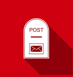 mail box icon post box icon with long shadow vector image
