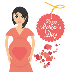 Mothers day card mom pregnancy celebration heart vector