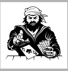 Pirat with playing cards vintage stylized drawing vector