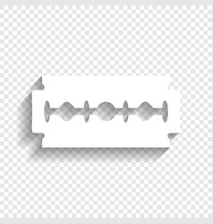 Razor blade sign white icon with soft vector