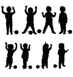 Children with prision ball silhouette in black vector