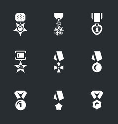 Set of military award icons vector