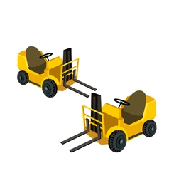 Two powered industrial forklift trucks vector