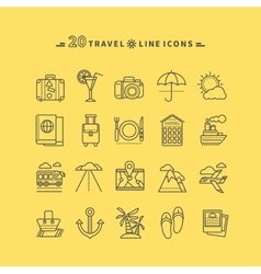 Set of outline travel icons vector