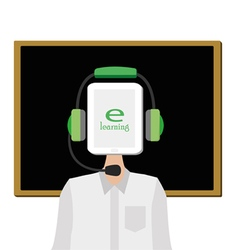 E-learning concept with teacher online vector