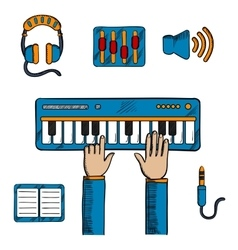 Musical and sound recording icons vector