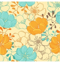 Hand drawn flowers seamless vector