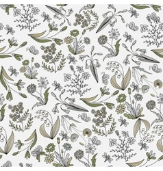 Vintage floral seamless pattern with hand drawn vector