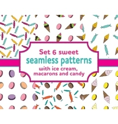 set seamless patterns with ice cream and candies vector image