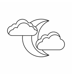 Moon and clouds icon outline style vector