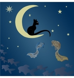 A cat sits on the moon and catches fish vector