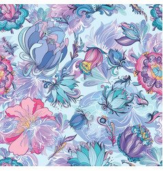 azure floral pattern vector image vector image