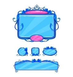 Beautiful girlish blue game user interface vector