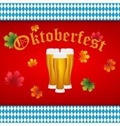 Beer at oktoberfest bavarian flag vector