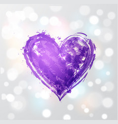 Big ultra violet purple grunge heart on white vector