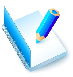 Blue notebook with colored pencil vector