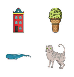 Building animal and other web icon in cartoon vector