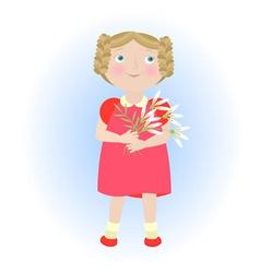 Cartoon girl with flower bouquet vector image vector image
