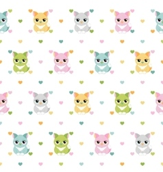Cats and hearts children seamless pattern vector image