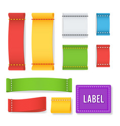 Color label fabric blank realistic set vector