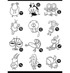 cute horoscope zodiac signs vector image vector image