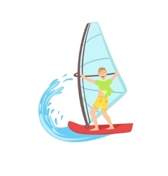 Guy windsurfing at the sea vector