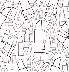 Hand drawn cosmetics lipsticks seamless pattern vector image vector image