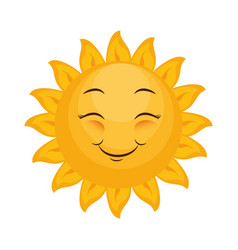 isolated yellow sun face vector image vector image