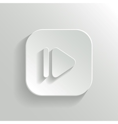 Media player icon - white app button vector image vector image